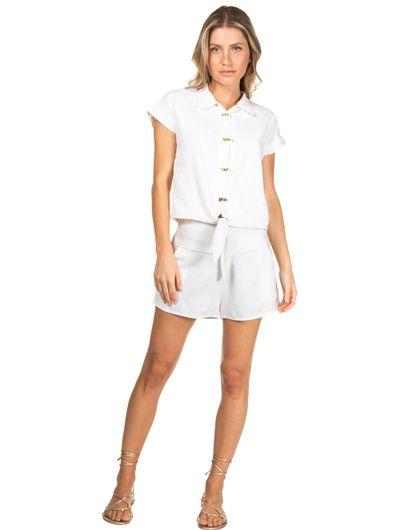 Camisa Manga Curta Em Linho Lisa Off White Comercial M